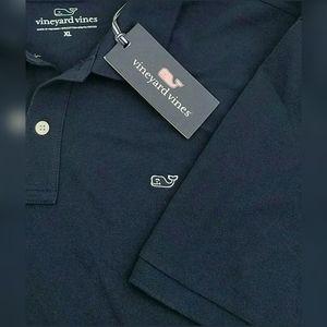 Vineyard Vines  Stretch Piqua Navy Blue Polo Shirt